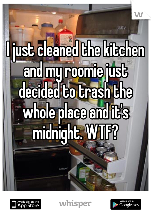 I just cleaned the kitchen and my roomie just decided to trash the whole place and it's midnight. WTF?