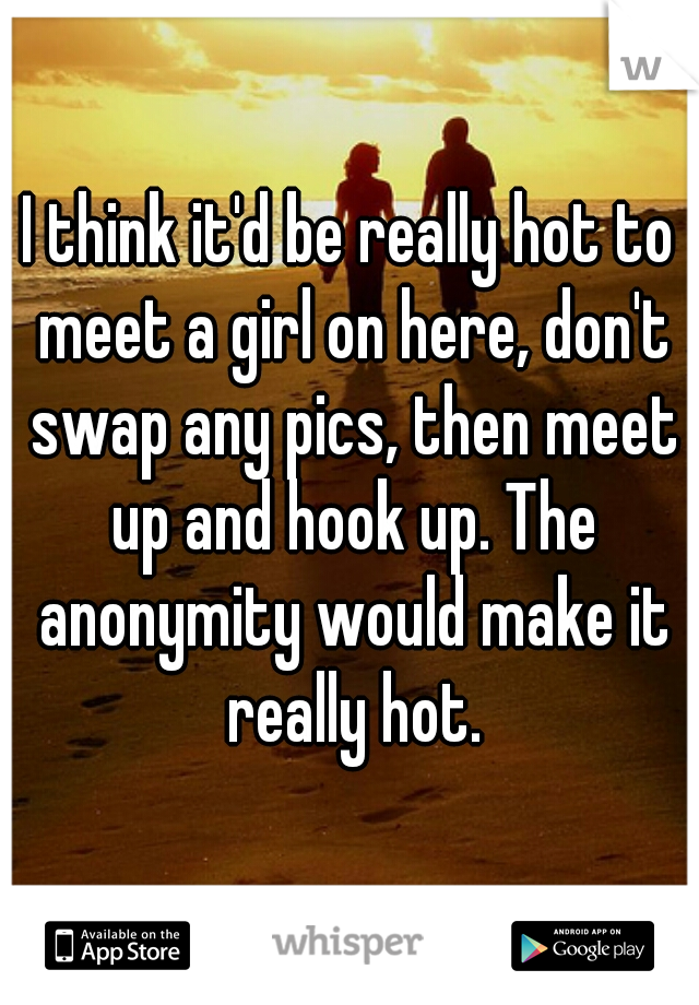 I think it'd be really hot to meet a girl on here, don't swap any pics, then meet up and hook up. The anonymity would make it really hot.