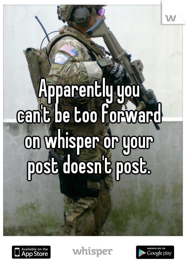 Apparently you can't be too forward on whisper or your post doesn't post.