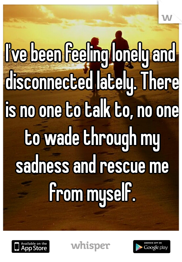 I've been feeling lonely and disconnected lately. There is no one to talk to, no one to wade through my sadness and rescue me from myself.