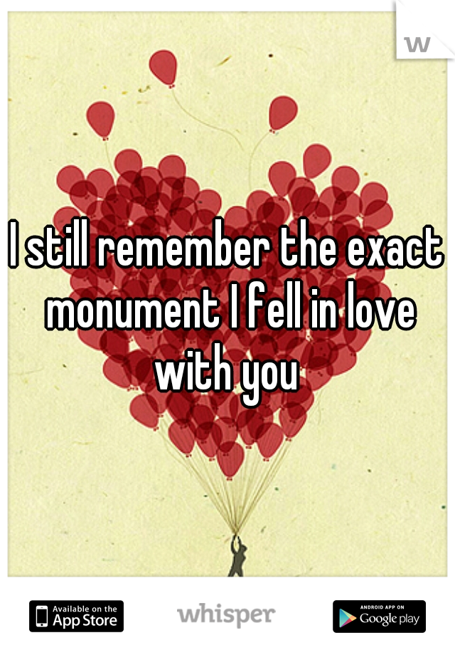 I still remember the exact monument I fell in love with you