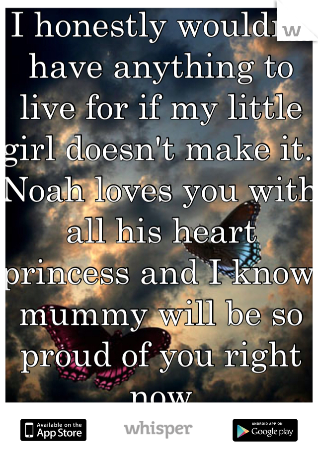 I honestly wouldn't have anything to live for if my little girl doesn't make it. Noah loves you with all his heart princess and I know mummy will be so proud of you right now