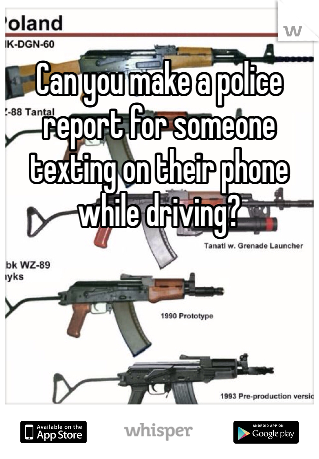 Can you make a police report for someone texting on their phone while driving?