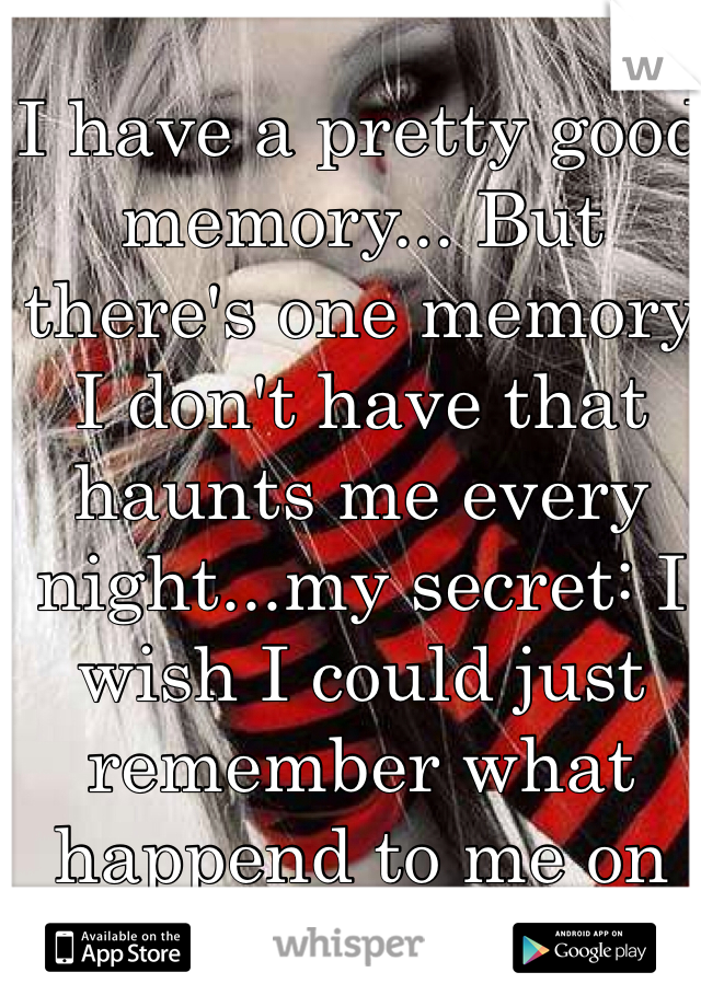 I have a pretty good memory... But there's one memory I don't have that haunts me every night...my secret: I wish I could just remember what happend to me on that night...