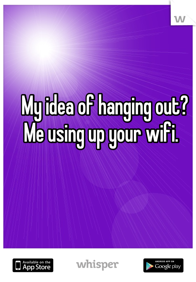 My idea of hanging out?  Me using up your wifi.