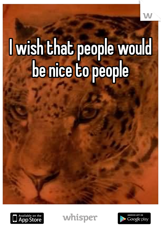 I wish that people would be nice to people