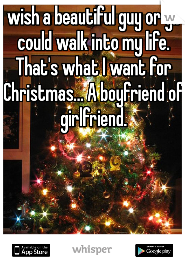 I wish a beautiful guy or girl could walk into my life. That's what I want for Christmas... A boyfriend of girlfriend.