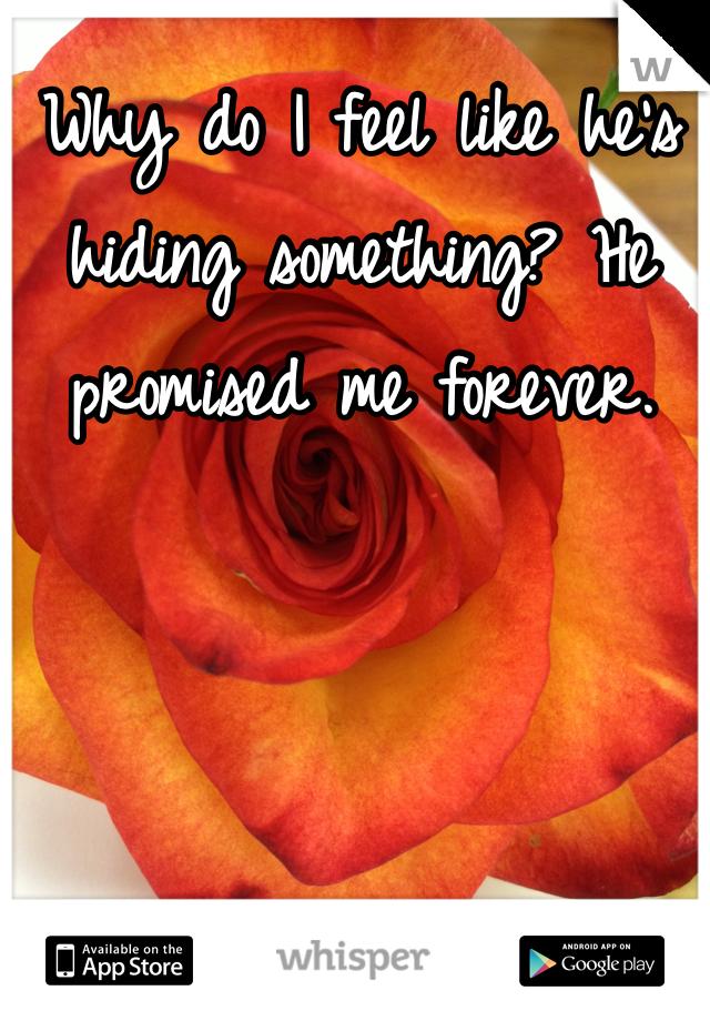 Why do I feel like he's hiding something? He promised me forever.