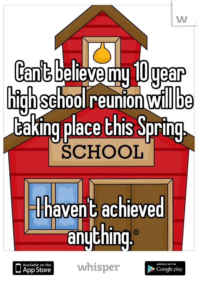 Can't believe my 10 year high school reunion will be taking place this Spring.    I haven't achieved anything.