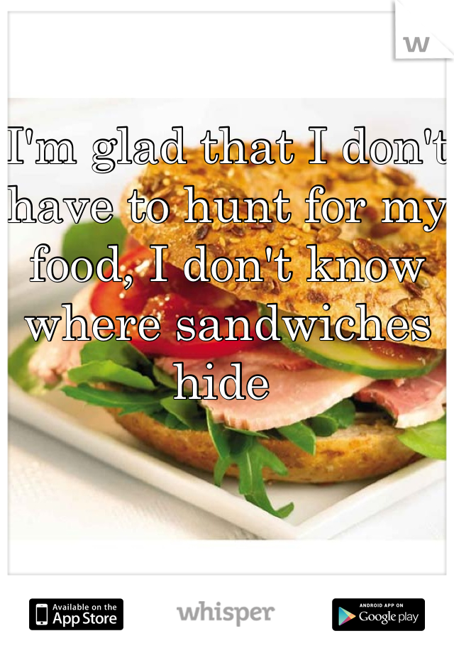 I'm glad that I don't have to hunt for my food, I don't know where sandwiches hide