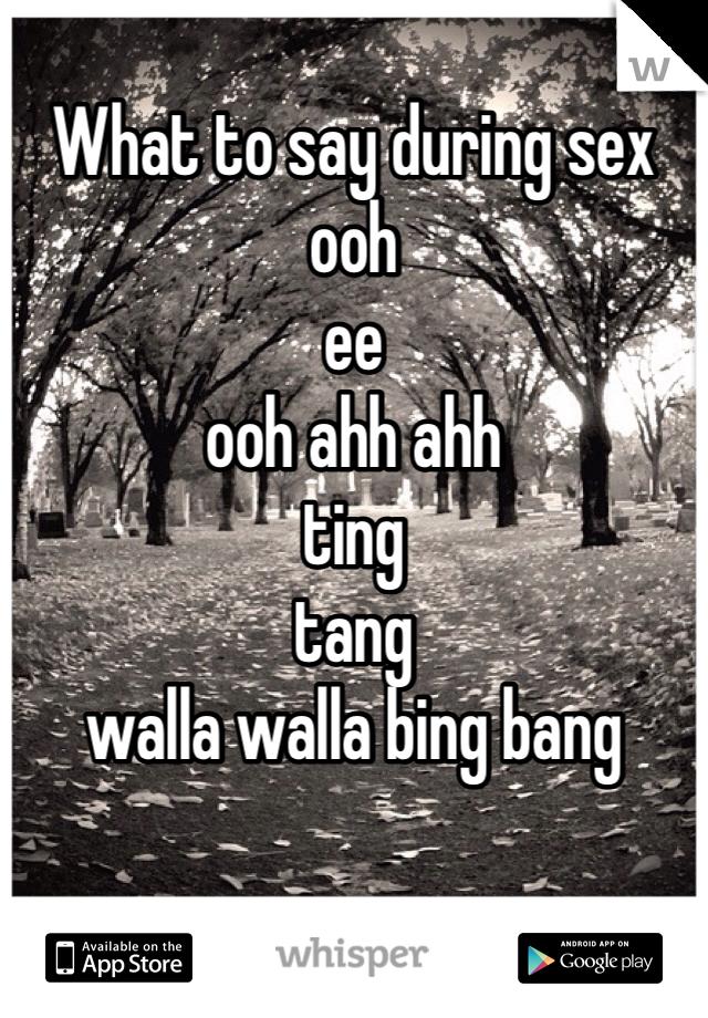 What to say during sex ooh ee ooh ahh ahh ting tang walla walla bing bang