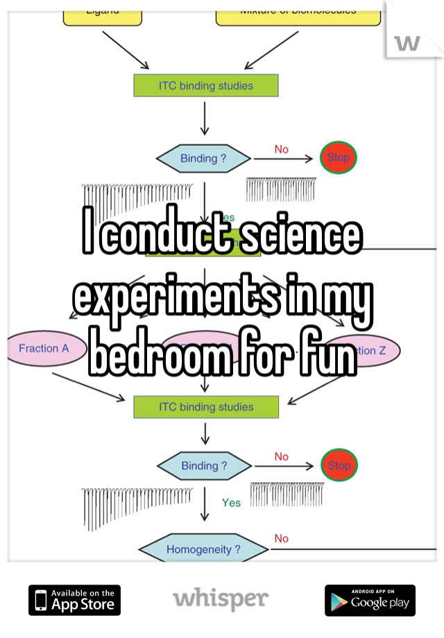 I conduct science experiments in my  bedroom for fun