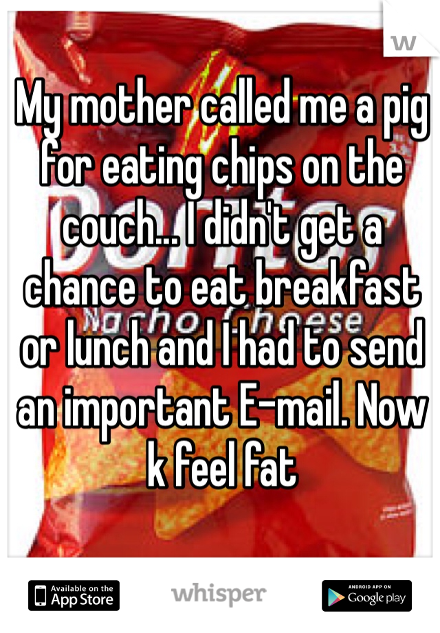 My mother called me a pig for eating chips on the couch... I didn't get a chance to eat breakfast or lunch and I had to send an important E-mail. Now k feel fat