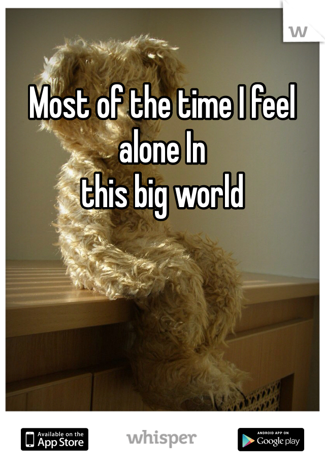 Most of the time I feel alone In  this big world