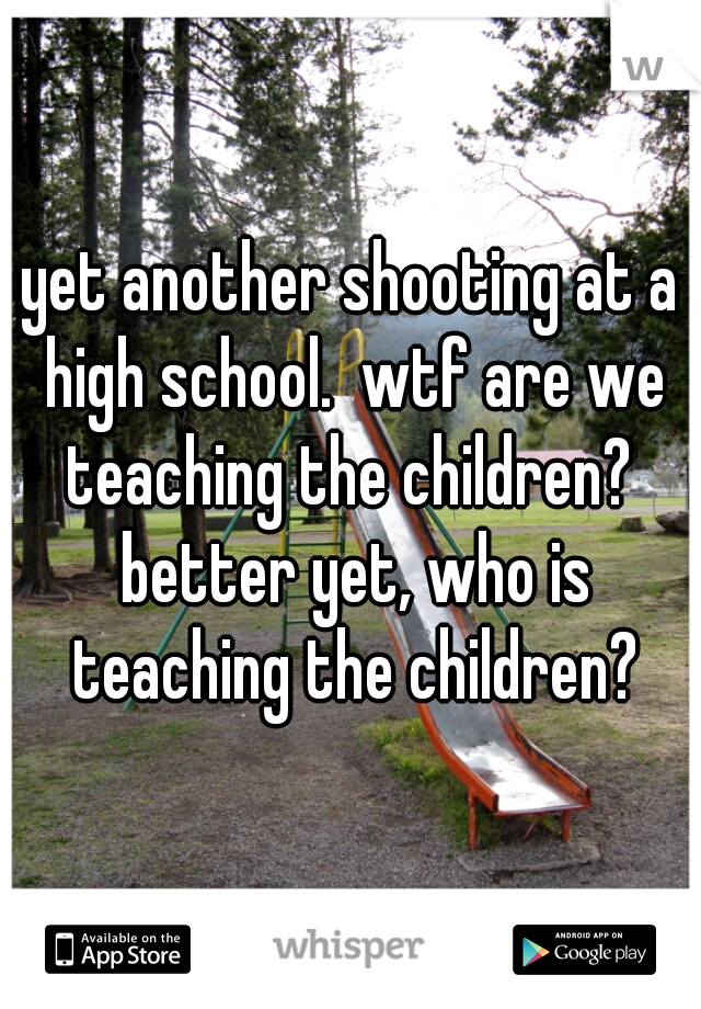 yet another shooting at a high school.  wtf are we teaching the children?  better yet, who is teaching the children?