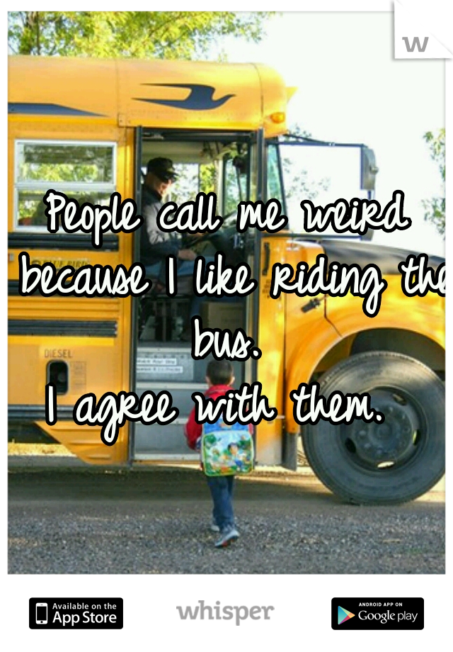 People call me weird because I like riding the bus.  I agree with them.