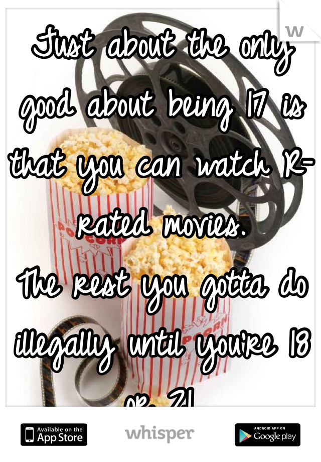 Just about the only good about being 17 is that you can watch R-rated movies. The rest you gotta do illegally until you're 18 or 21.