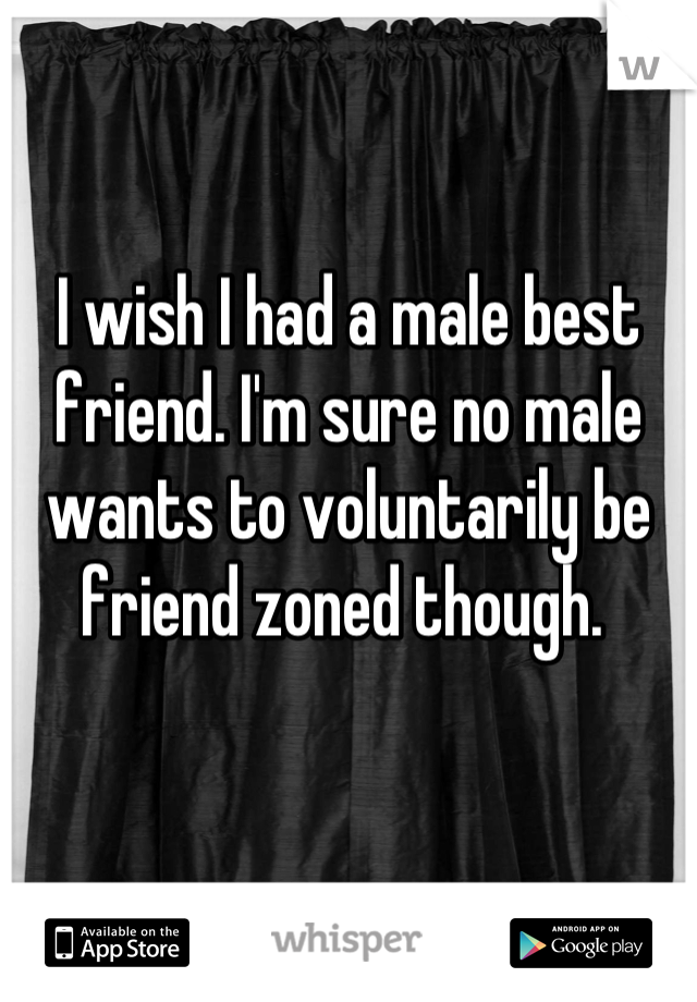 I wish I had a male best friend. I'm sure no male wants to voluntarily be friend zoned though.