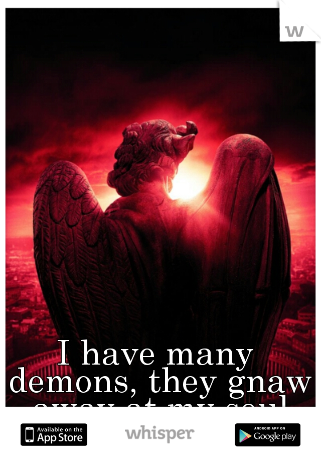 I have many demons, they gnaw away at my soul and spirit.