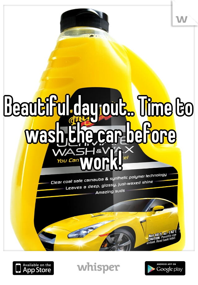 Beautiful day out.. Time to wash the car before work!
