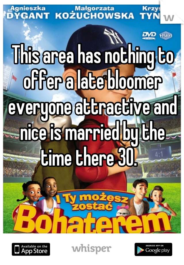 This area has nothing to offer a late bloomer everyone attractive and nice is married by the time there 30.