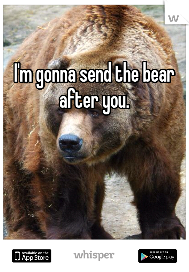 I'm gonna send the bear after you.