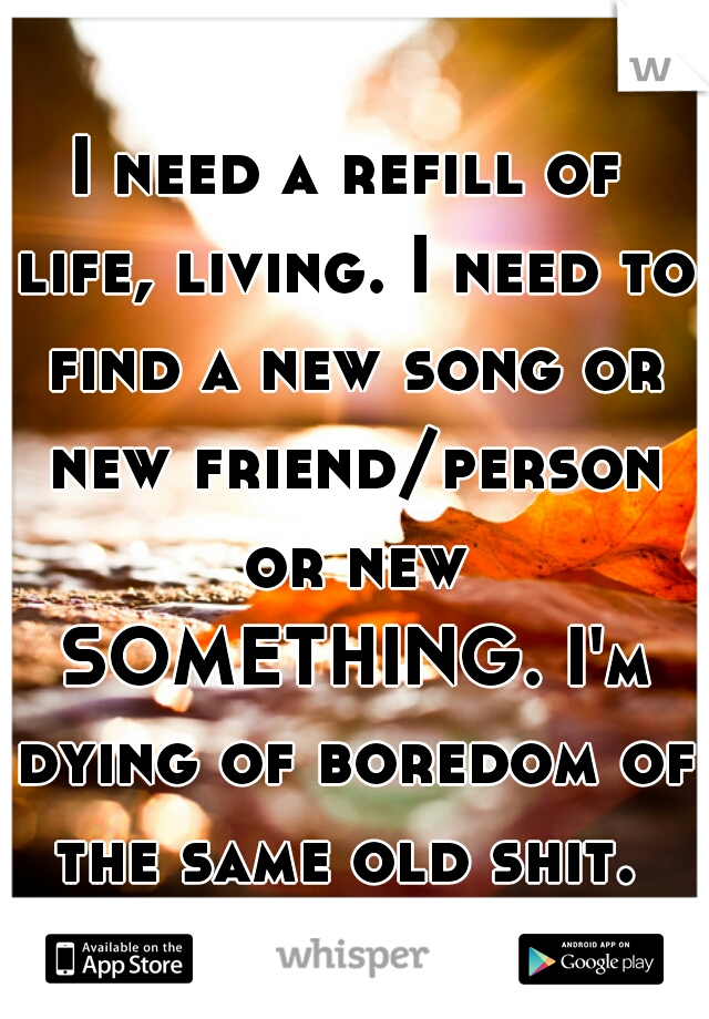 I need a refill of life, living. I need to find a new song or new friend/person or new SOMETHING. I'm dying of boredom of the same old shit.