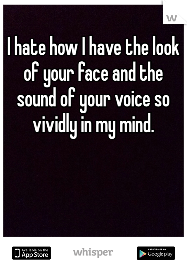 I hate how I have the look of your face and the sound of your voice so vividly in my mind.