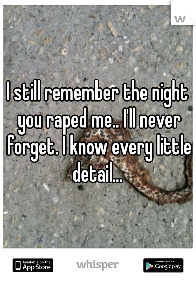 I still remember the night you raped me.. I'll never forget. I know every little detail...
