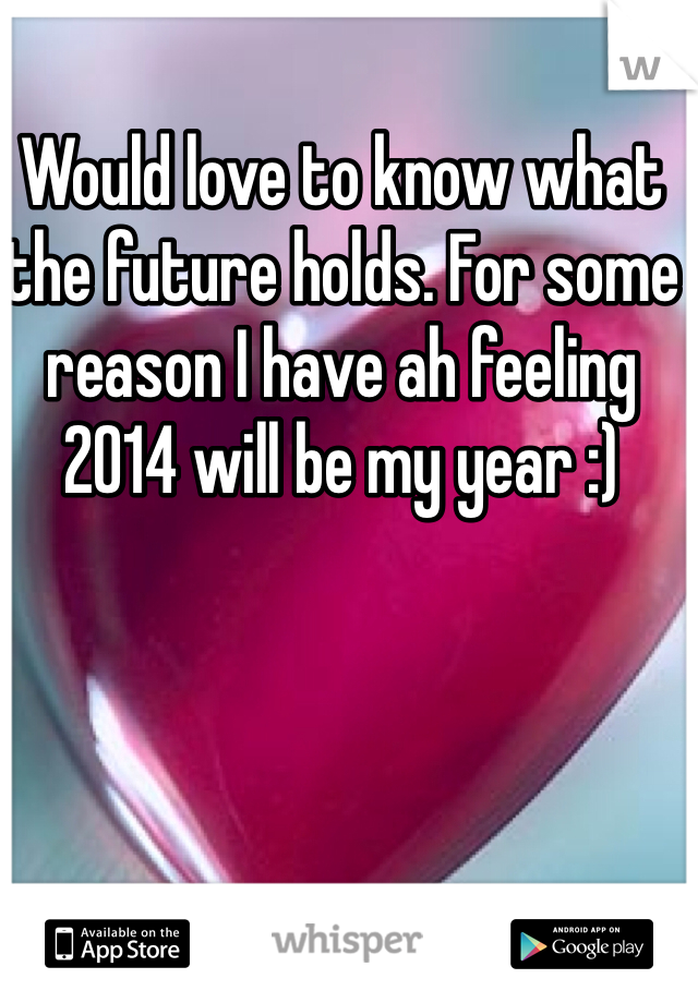Would love to know what the future holds. For some reason I have ah feeling 2014 will be my year :)