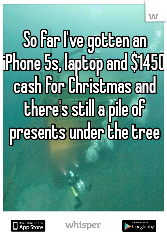 So far I've gotten an iPhone 5s, laptop and $1450 cash for Christmas and there's still a pile of presents under the tree