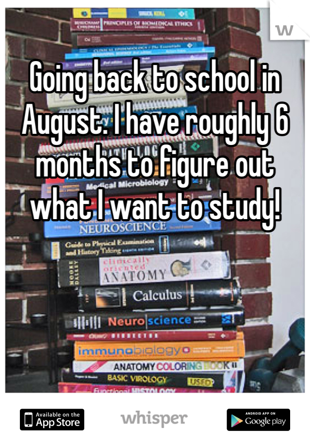 Going back to school in August. I have roughly 6 months to figure out what I want to study!