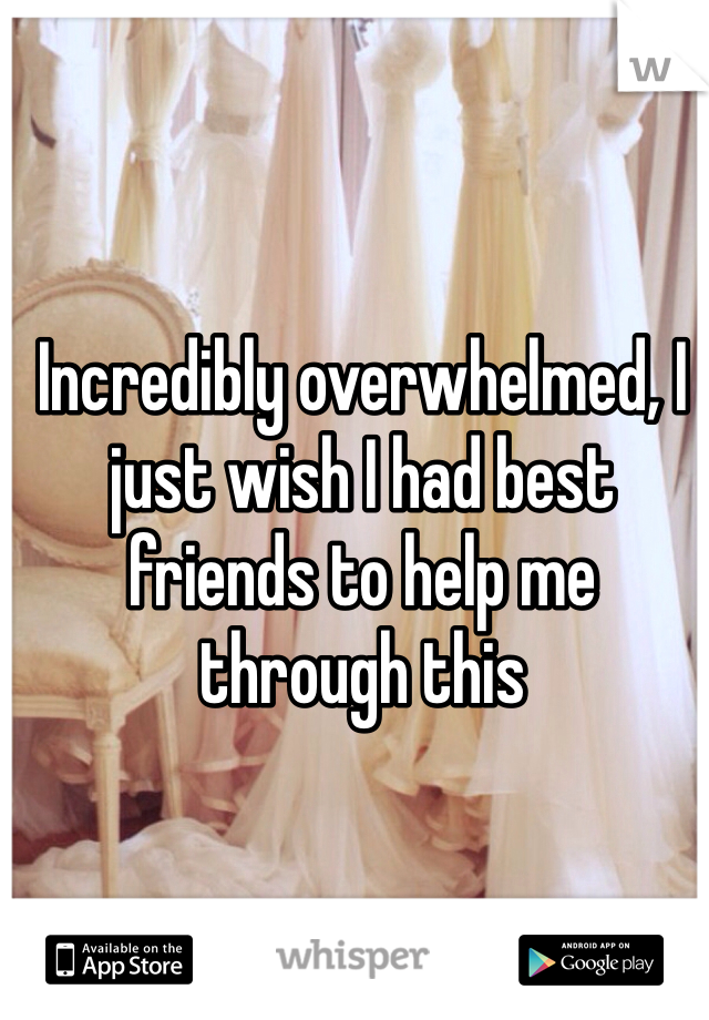 Incredibly overwhelmed, I just wish I had best friends to help me through this