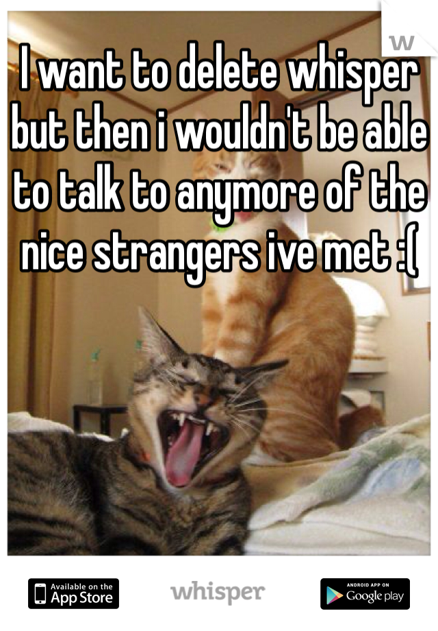 I want to delete whisper but then i wouldn't be able to talk to anymore of the nice strangers ive met :(