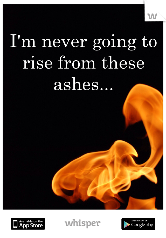 I'm never going to rise from these ashes...