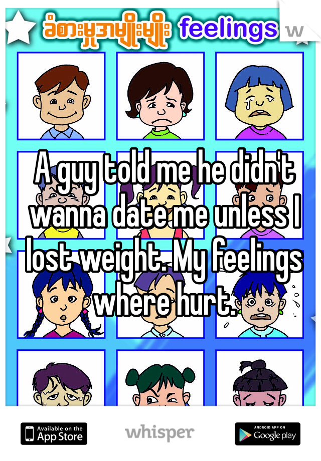 A guy told me he didn't wanna date me unless I lost weight. My feelings where hurt.