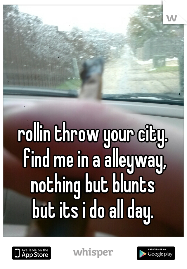 rollin throw your city.  find me in a alleyway, nothing but blunts  but its i do all day.