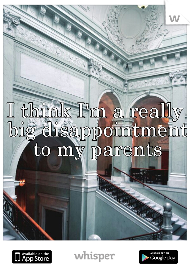 I think I'm a really big disappointment to my parents