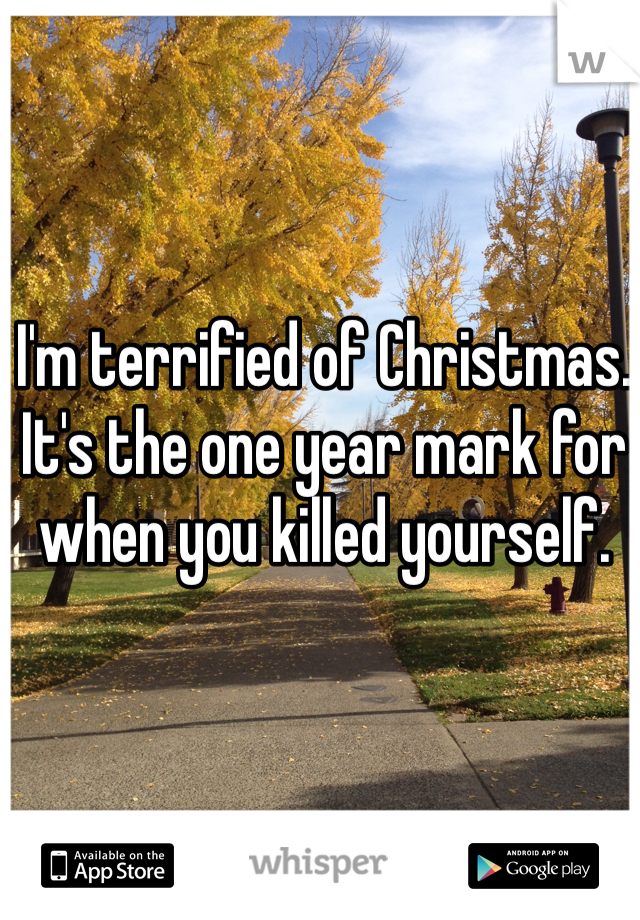 I'm terrified of Christmas. It's the one year mark for when you killed yourself.