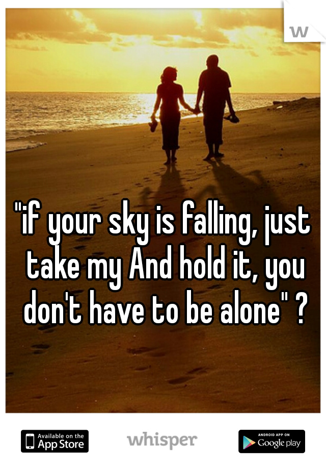 """if your sky is falling, just take my And hold it, you don't have to be alone"" ?"