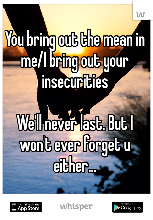 You bring out the mean in me/I bring out your insecurities  We'll never last. But I won't ever forget u either...