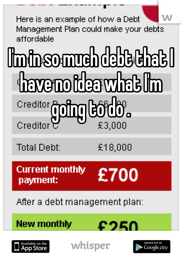 I'm in so much debt that I have no idea what I'm going to do .