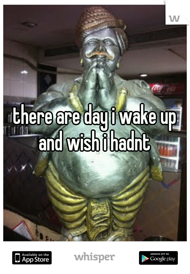 there are day i wake up and wish i hadnt