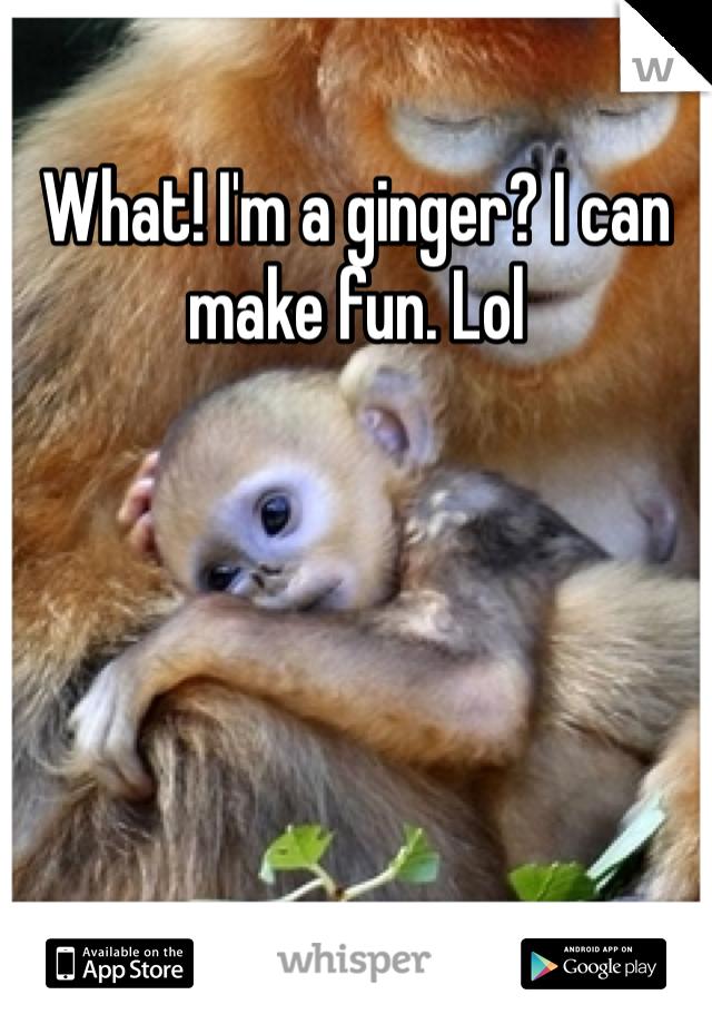 What! I'm a ginger? I can make fun. Lol