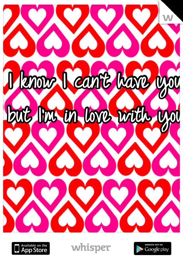 I know I can't have you but I'm in love with you