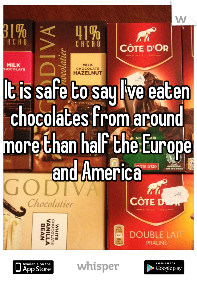 It is safe to say I've eaten chocolates from around more than half the Europe and America