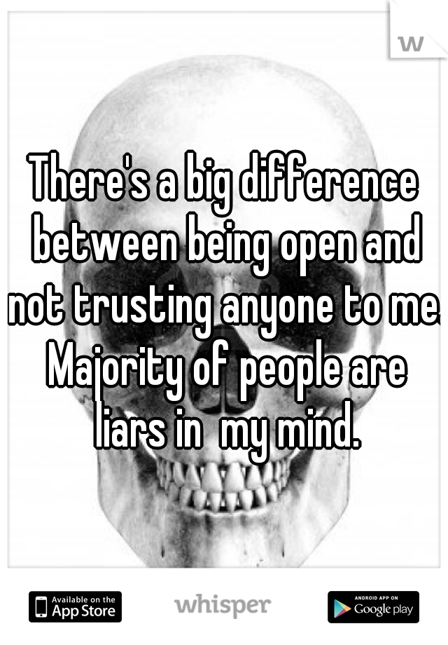There's a big difference between being open and not trusting anyone to me. Majority of people are liars in  my mind.