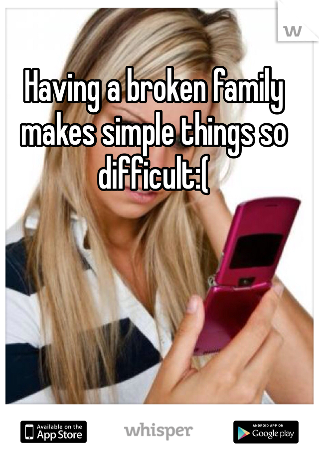 Having a broken family makes simple things so difficult:(