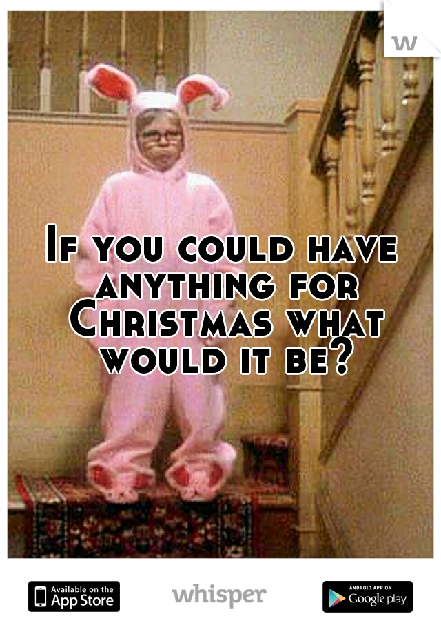 If you could have anything for Christmas what would it be?