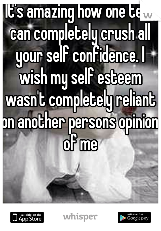 It's amazing how one text can completely crush all your self confidence. I wish my self esteem wasn't completely reliant on another persons opinion of me